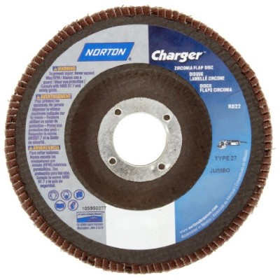 Norton Charger R822 High Density Abrasive Flap Disc, Type 27, Threaded Hole, Fiberglass Backing,...
