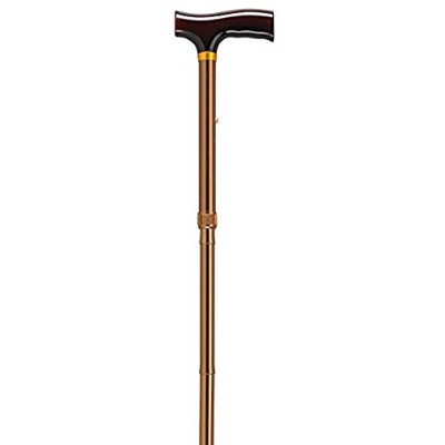Drive Medical Designer Folding Cane with T Handle, Bronze by Drive Medical