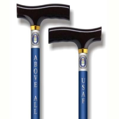 US Air Force cane - Adjustable aluminum walking cane with US Air Force insignia on one side and...