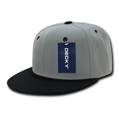 Decky 351-GRYBLK Two Tone Flat Bill Snapbacks, Grey & Black
