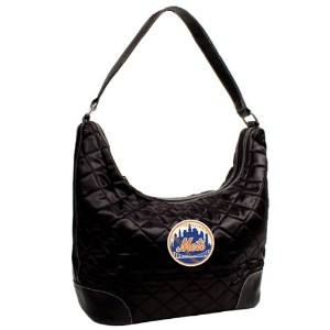 Little Earth 52306-mets-black MLBニューヨークメッツQuilted Hobo