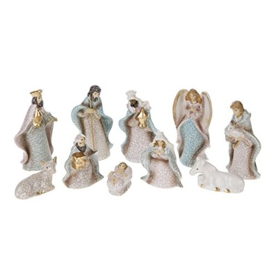 Creative Co-Op XC2796 Silent Night Set of Ten 4 H Stoneware Crackled Nativity by Creative Co-op
