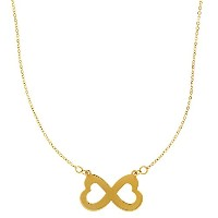 "14k Yellow Gold Double Heart Infinity Pendant Sign On 18"" Necklace"
