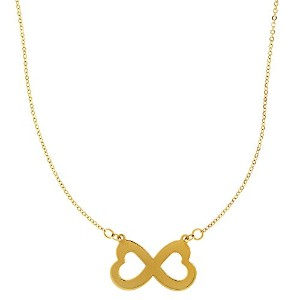 """14k Yellow Gold Double Heart Infinity Pendant Sign On 18"""" Necklace"""