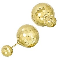 14k Yellow Hammered Finish Gold Front And Back Double Ball Stud Earrings, 8mm And 12mm