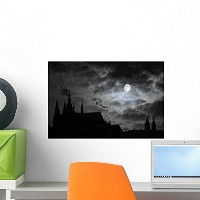 Wallmonkeys Wall Decals Full Moon Over Transilvania Peel and Stick Wall Decal, 18 x 12 by Wallmonkey...