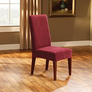 Sure Fit ダイニングチェアスリップカバー ストレッチピケ クリーム Short Dinning Room Chair レッド SF36850
