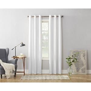 No. 918 Montego Casual Textured Grommet Curtain Panel, 48 x 63 Inch, White by No. 918