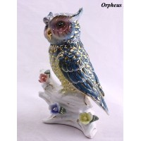 Feng Shui Owl - Hand Crafted and Decorated Chinese Porcelain,figurine 2105505. (Blue)