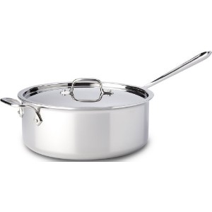 All-Clad 4206 Stainless Steel Tri-Ply Bonded Dishwasher Safe Deep Saute Pan with Lid / Cookware, 6...