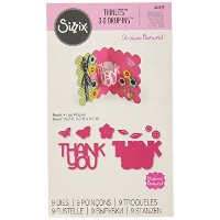 Sizzix 661128 Thank You 3-D Drop-Ins Sentiment Thinlits Die Set by Stephanie Barnard by Sizzix