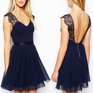 Sexy Women Backless Lace Chiffon Prom Gowns Party Evening Cocktail Mini Dress