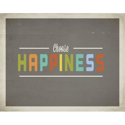 Kid's Wall Art Choose Happiness 14x11 Print for Boys, Girls, Teen's, Baby's Room, Nursery Decor, Modern Vintage, Features Retro Type with an Inspiring Message by Children Inspire Design