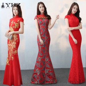 Trumpet Mermaid Red Lace Wedding Cheongsam Peacock Embroidered Dress Bridal QiPao Dresses