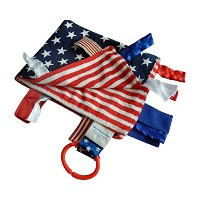 Sensory Baby Security Tag Blanket, Red, White Blue, American Flag Baby Blanket for Military Baby by...