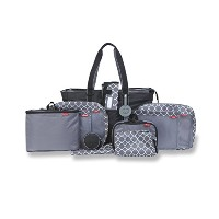 Baby Boom PACK RIGHT 12 Piece Travel and Day Care Diaper Bag Set, Black/Grey by Baby Boom
