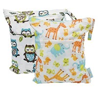 Yarra Modes 2 pcs Baby Wet and Dry Cloth Diaper Bags (Giraffeand Owls) by Yarra Modes
