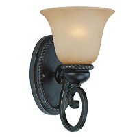 Jeremiah 25201-MB Highland Place 1 Light Wall Sconce with Light Umber Etched Glass, Mocha Bronze by...