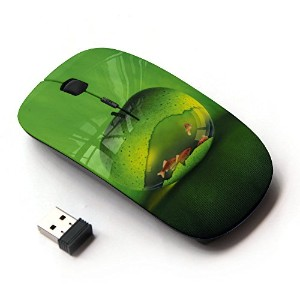 KOOLmouse [ ワイヤレスマウス 2.4Ghz無線光学式マウス ] [ cool green apple fish aquarium gold nature ]