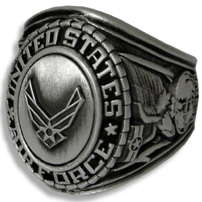US Air Force Insigniaリング–シルバー色付きAir Force Veteranリング–Military Collectibles
