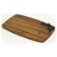 Simply Bamboo Kona BerriesアーティザンCrafted炭化竹チーズボードとServing Tray、ミディアム