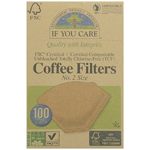 If You Careコーヒーフィルタ2号サイズ、Compostable、Unbleached、100-count 3パック ブラウン CECOMINOD057716
