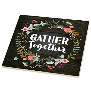 ギャザーTogether Floral Wreath Dark Wood Look 7 x 7セラミック石五徳