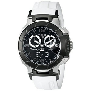 ティソ Tissot 腕時計 メンズ 時計 Tissot Men's T0484172705705 T-Race Black Chronograph Watch with White Rubber...