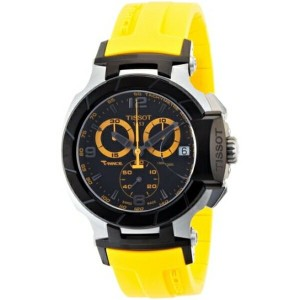 ティソ Tissot 腕時計 メンズ 時計 Tissot Men's T0484172705703 T-Race Quartz Yellow Strap Chronograph Dial Watch