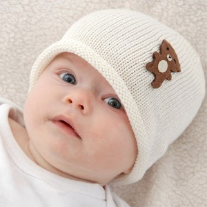 Cute Baby Beanie Hat 0-6m Soft Luxurious Cotton Knit - Brown Bear: Cream Hat by Twinklebelle