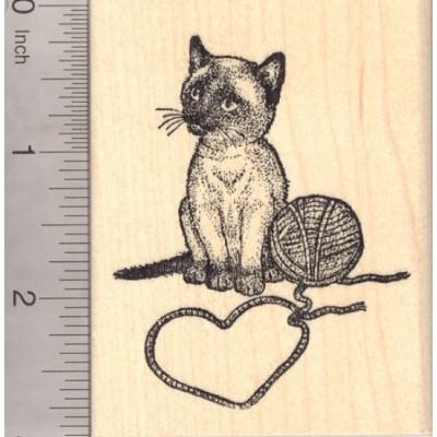 Valentine's Day Siamese Cat Rubber Stamp, Kitten with Yarn