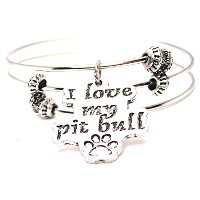 I Love My Pit Bull with Paw Print拡張可能なトリプルワイヤ調整可能ブレスレットMade in the USA
