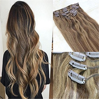 HairDancing 45cm 7Pcs 120g Clips in Real Human Hair Ombre Piano Extensions Remy Clip Hair Human...
