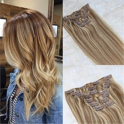 HairDancing 50cm 7Pcs 120g Full Head Best Human Hair Clip Extensions Piano Ombre Color #10 Golden...