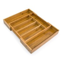 Relaxdays Adjustable Bamboo Tray, Extendible, with 5 to 7 Compartments, Size: 5 x 48.5 x 37 cm,...