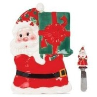 Fitz and Floyd Sweet Holiday Santa Snack Plate and Spreader Set [並行輸入品]