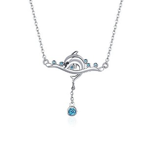 BAMOER イルカ ネックレス レディース シルバー925 サファイア 海洋風 重ね着け可 Silver 925 Dolphin Necklace for women Shinning...