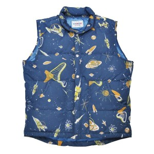 【2XL】WEIRDO SPACE TARGET - DOWN VEST (NAVY) ウィアード 総柄 ダウンベスト/GLADHAND【GANGSTERVILLE/ギャングスタービル/OLD...