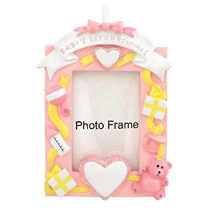 Baby's First Christmas Girl Picture Frame Ornament by Santa's Personalized Gifts