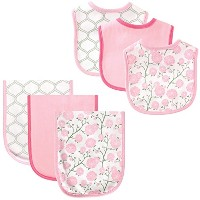 Hudson Baby 6 Piece Bib and Burp Cloth Set, Flowers by Hudson Baby