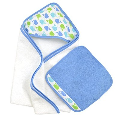 Just Born Just Bath Sea Brights Hooded Towel and Washcloth Set, Blue Whales by Just Born