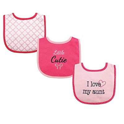 Luvable Friends 3 Piece Drooler Bibs with Fiber Filling for Girls, I love Aunt by Luvable Friends