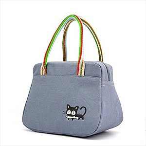 La moriposaポータブルInsulated LunchボックスLunchバッグピクニックバッグTotes Grocery Bags グレー