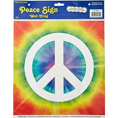 Beistle 54344Peace Sign Peel ' N Placeパーティーデコレーション、12-inch by 15インチシート