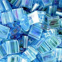 Aqua Ab Tila Beads 7.2 Gram Tube By Miyuki Are a 2 Hole Flat Square Seed Bead 5x5mm 1.9mm Thick...