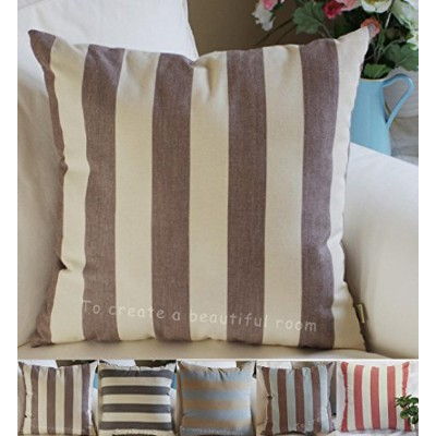 "(22"" x 22"""",""Brown, Beige) - TangDepot Decorative Handmade Striped Cotton Throw Pillow Covers ..."