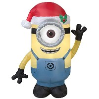 Outdoor Christmas Inflatable 3.5 ft Minion Stuart with Santa Hat Blow up Lights Decoration by Gemmy