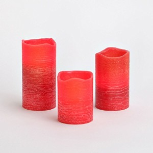 Set of 3 Distressed Flameless Wax Pillar Candle – 電池含ま LC003099