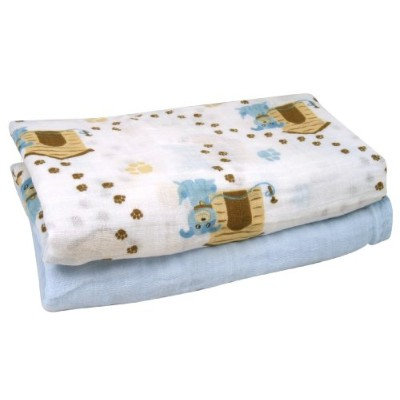 Stephan Baby Cotton Muslin Swaddle Blankets Gift Set, Solid Blue/Dog, 2 Piece by Stephan Baby