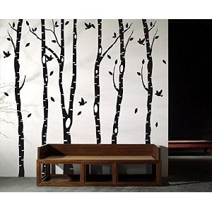 Removable Vinyl Birch Tree Forest Wall Decal Tree Wall Art Birch Wall Sticker by treedecals